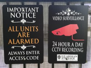 Guardian Storage Facility Security Signs