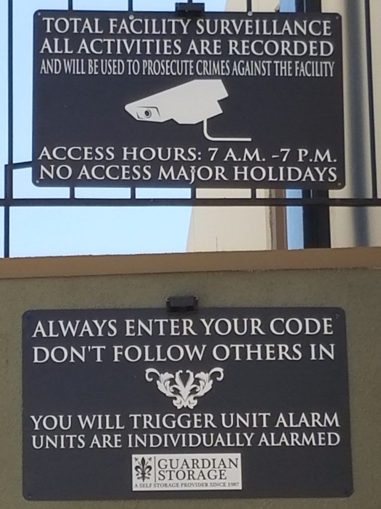 Guardian Storage facility security warning signs