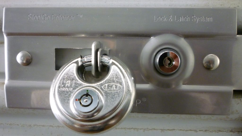 High security self storage unit lock and latch system at Guardian Storage in Fullerton, Anaheim