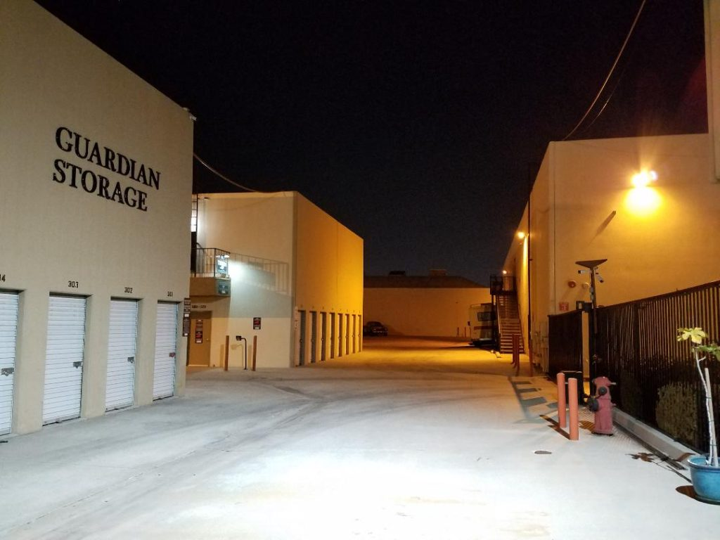 Guardian Storage Fullerton facility security lighting