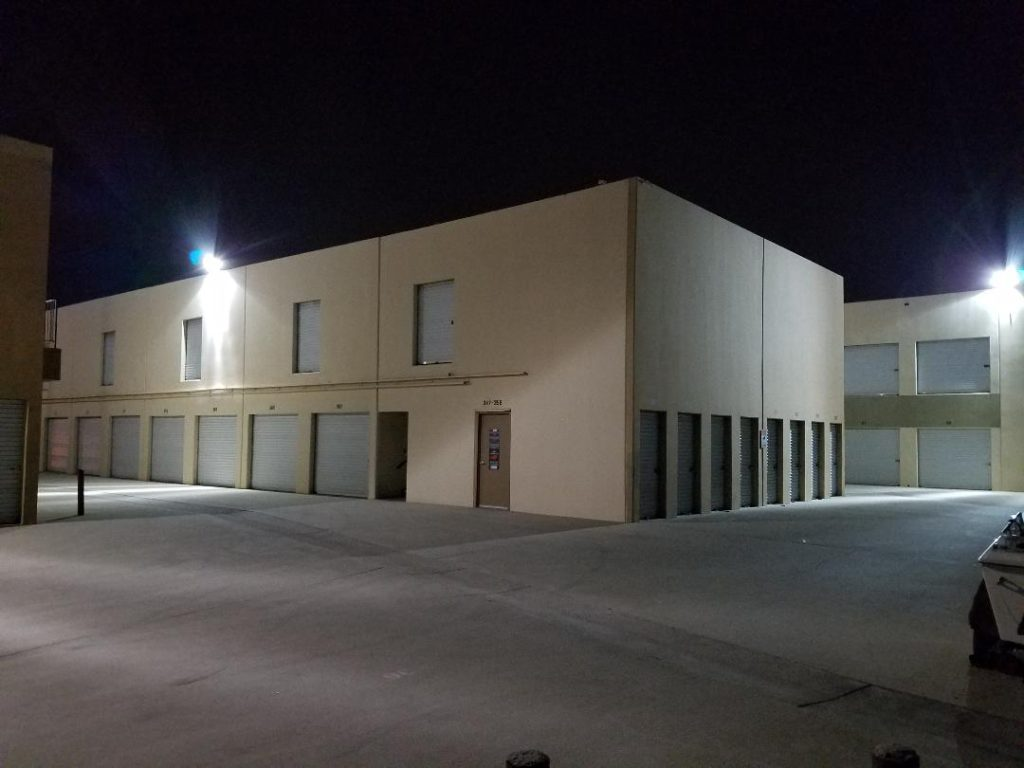 Self storage facility security lighting at Guardian Storage Fullerton