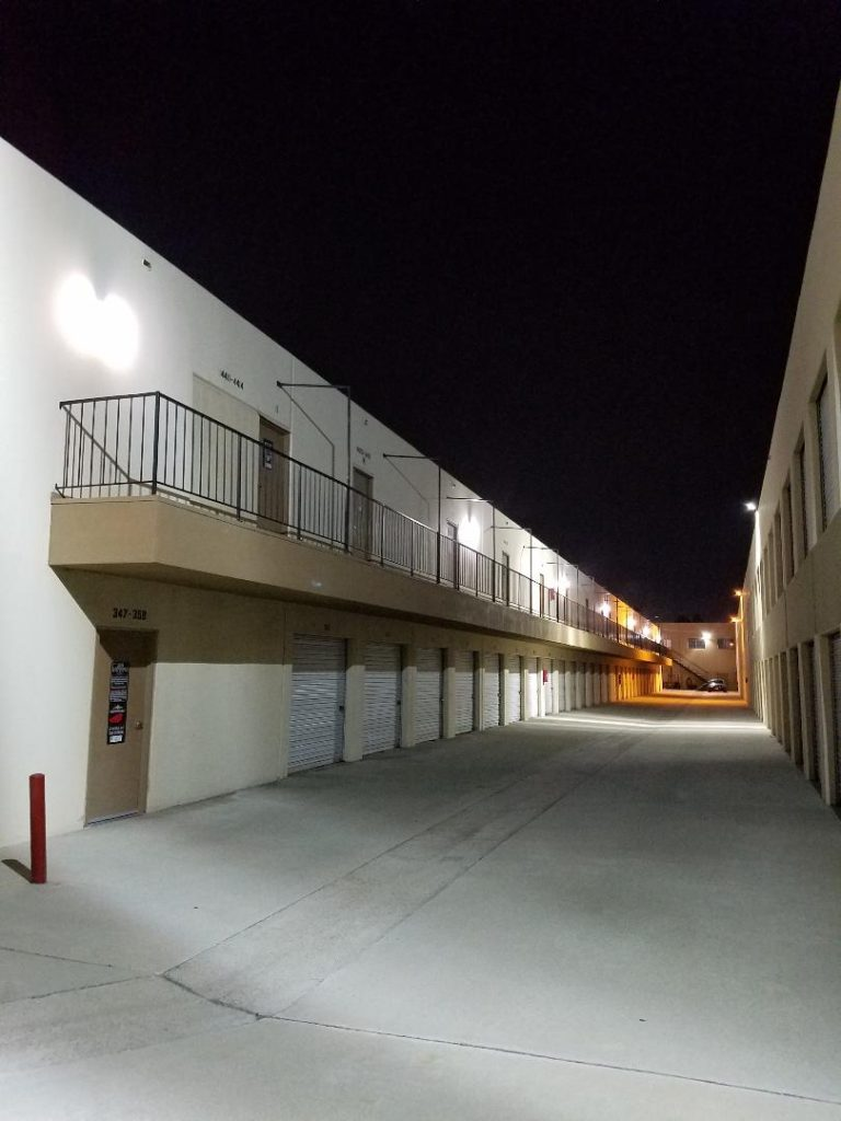 Mini storage facility security lighting at Guardian Storage Fullerton
