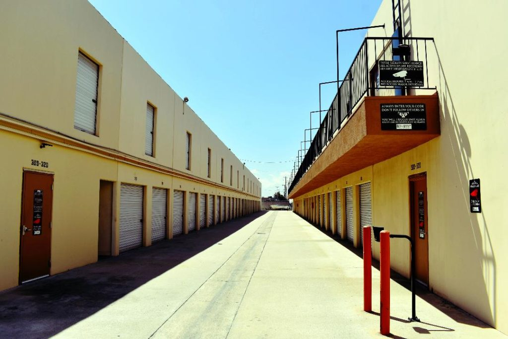 self storage facility buildings and wide drive ways for self storage unit access